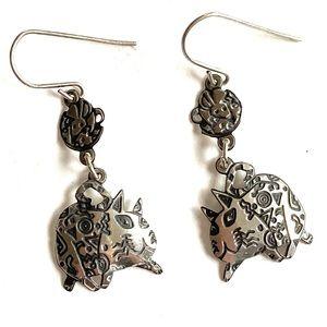 EDGAR BEREBI Sterling Silver Cat Earrings 925